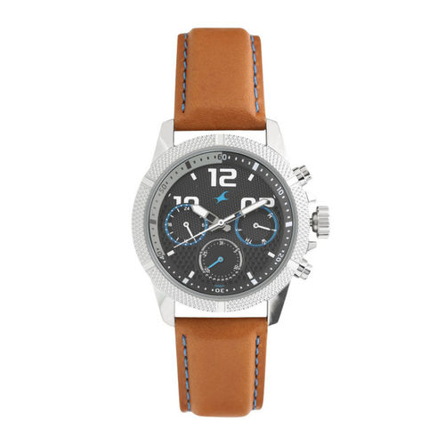 Fastrack Men Black Leather Analogue Watch 3169SL01