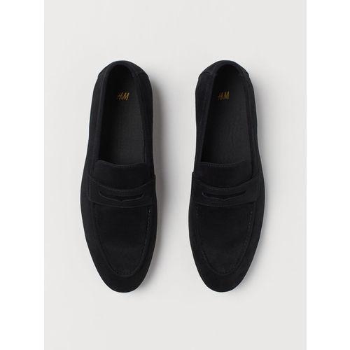 Buy H\u0026M Men Black Solid Loafers online