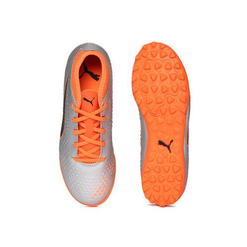 Puma Boys Silver-Toned & Orange ONE 4 Syn TT Jr Football Shoes