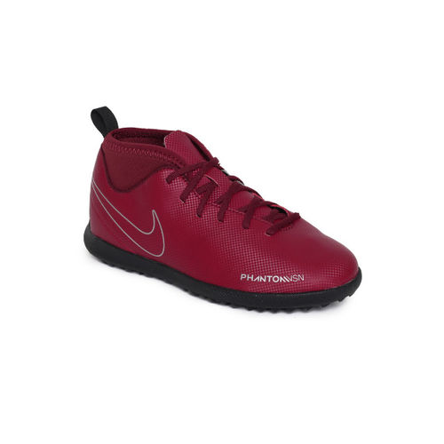 Nike Kids Maroon Solid Synthetic Mid-Top JR OBRA 3 CLUB DF TF Football Shoes
