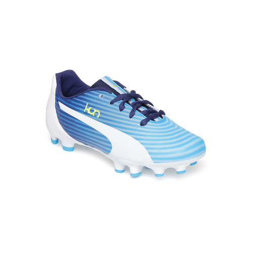 Puma Kids Blue & White Kun 16 FG Striped Football Shoes