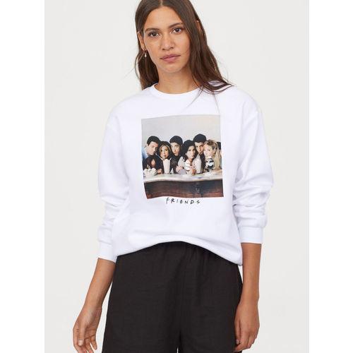 H&M Women White Printed Sweatshirt