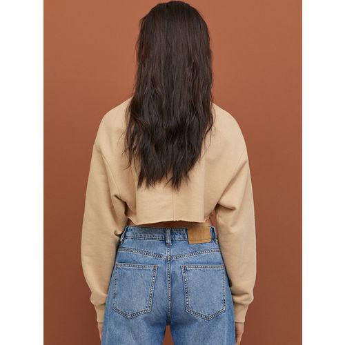 H&M Women Beige Printed Cropped Sweatshirt