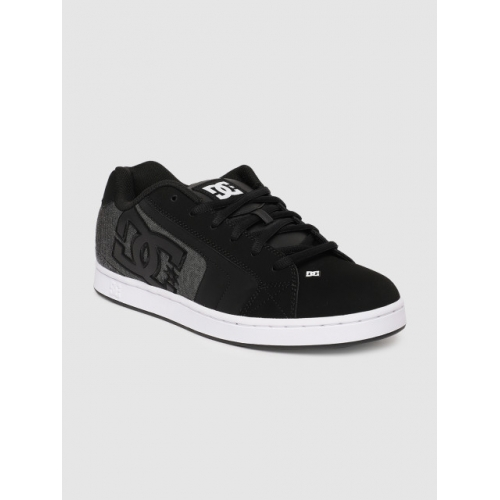 DC Black Solid Suede Lace-up Sneakers