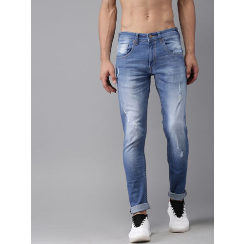 HERE&NOW Men Blue Skinny Fit Mid-Rise Mildly Distressed Stretchable Jeans