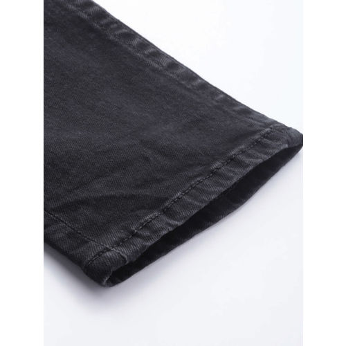 HERE&NOW Men Black Slim Fit Mid-Rise Low Distressed Stretchable Jeans