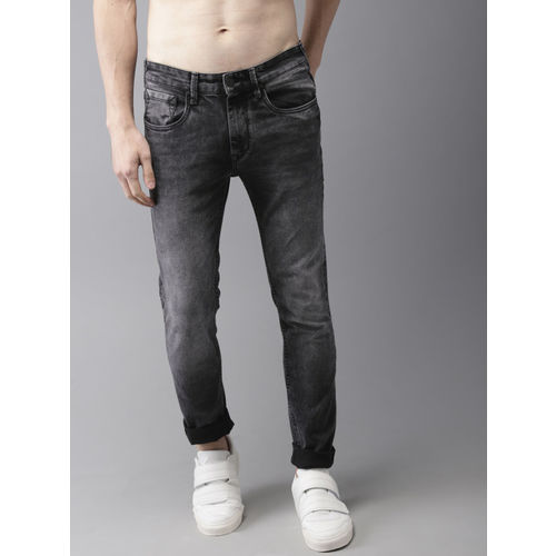 HERE&NOW Men Charcoal Grey Slim Fit Clean Look Mid-Rise Stretchable Jeans