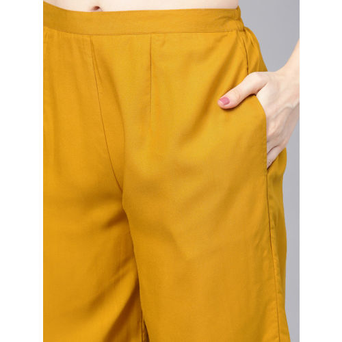Libas Women Beige & Mustard Yellow Printed Kurta with Palazzos