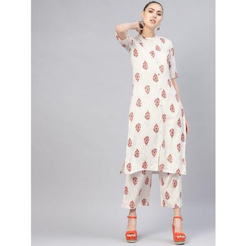 Libas Women White & Red Printed Kurta with Palazzos