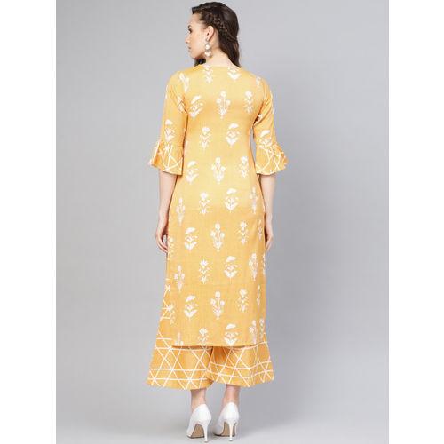 Libas Women Yellow & White Printed Linen Kurta with Palazzos
