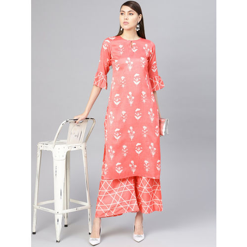 Libas Women Pink & White Printed Linen Kurta with Palazzos