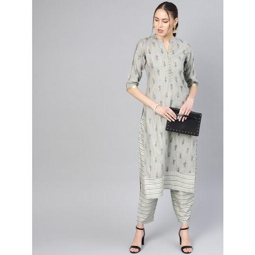 Libas Women Grey & Golden Printed Kurta with Trousers