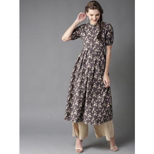 Moda Rapido Women Charcoal Grey & Beige Printed A-line Kurta