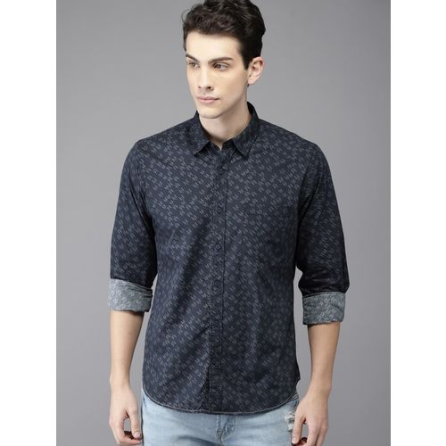 HERE&NOW Men Printed Casual Blue Shirt