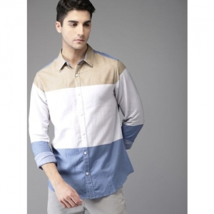 HERE&NOW Men Color Block Casual Beige, White, Blue Shirt