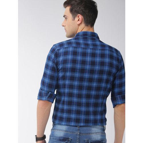 Mast & Harbour Men Blue & Navy Blue Regular Fit Checked Casual Shirt