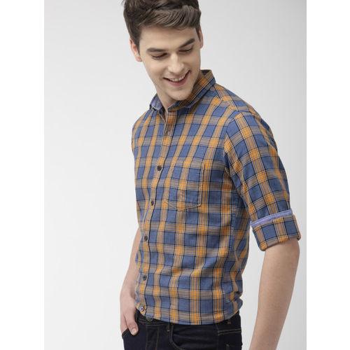 Mast & Harbour Men Blue & Mustard Yellow Regular Fit Checked Casual Shirt
