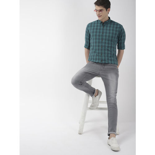 Mast & Harbour Men Green and Blue Regular Fit Checked Casual Shirt