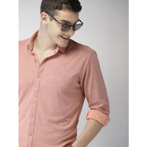 Mast & Harbour Men Coral Regular Fit Printed Knitted Casual Shirt