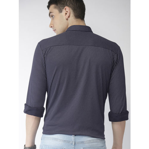 Mast & Harbour Men Navy Blue Regular Fit Printed Knitted Casual Shirt