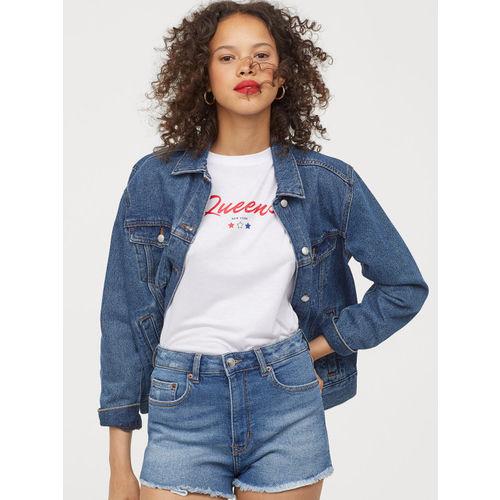 H&M Women White Printed Viscose T-shirt