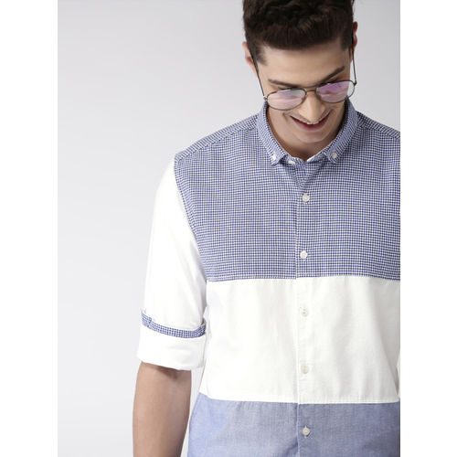 Mast & Harbour Men Blue & White Slim Fit Checked Casual Shirt