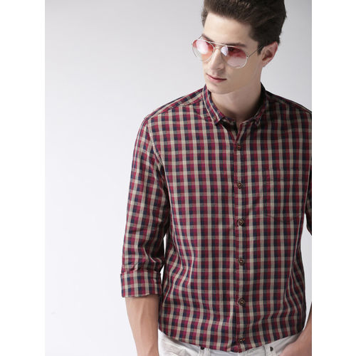 Mast & Harbour Men Maroon & Red Slim Fit Checked Casual Shirt