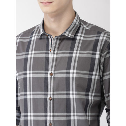 Mast & Harbour Men Grey & White Regular Fit Checked Casual Shirt