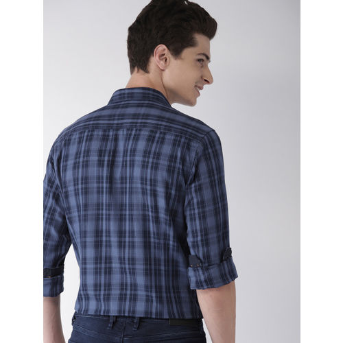 Mast & Harbour Men Blue Regular Fit Checked Casual Shirt