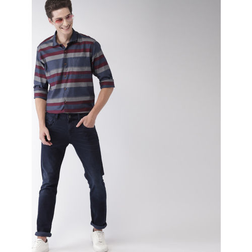 Mast & Harbour Men Navy Blue & Grey Regular Fit Striped Casual Shirt