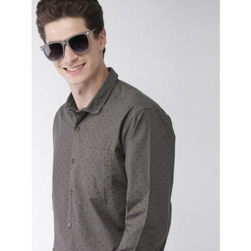 Mast & Harbour Men Charcoal Regular Fit Printed Casual Shirt