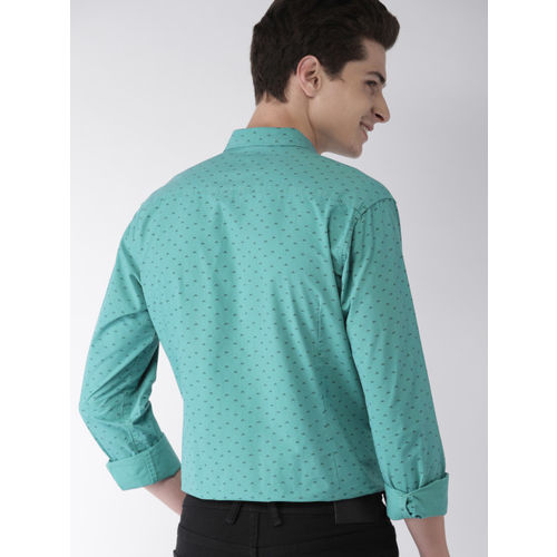 Mast & Harbour Men Green Regular Fit Printed Casual Shirt