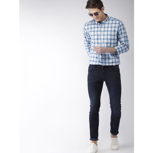 Mast & Harbour Men Blue & White Slim Fit Checked Smart Casual Shirt