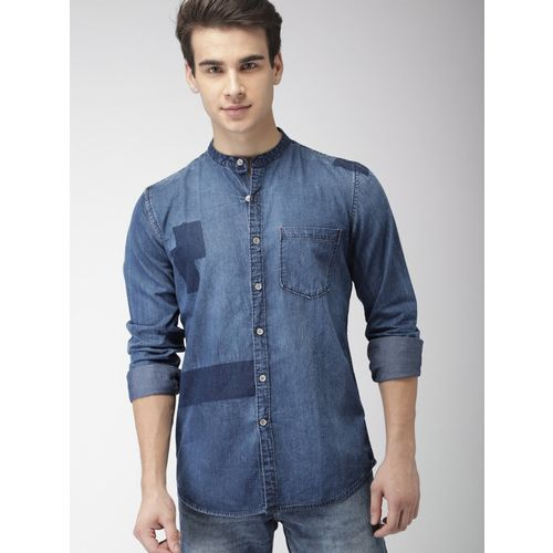 Mast & Harbour Men Washed Casual Blue Shirt