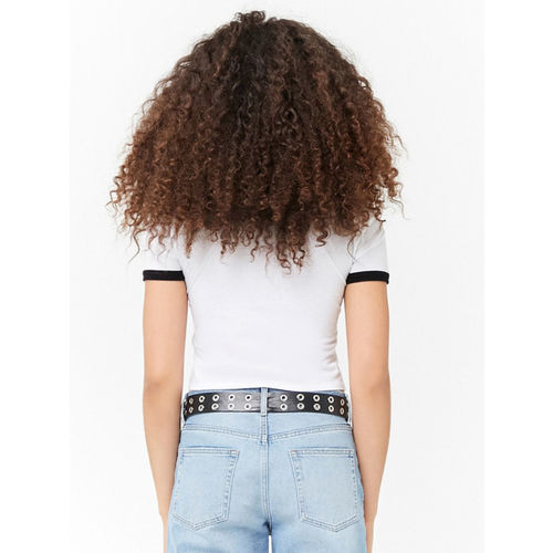 FOREVER 21 Women White Printed Round Neck Crop T-shirt