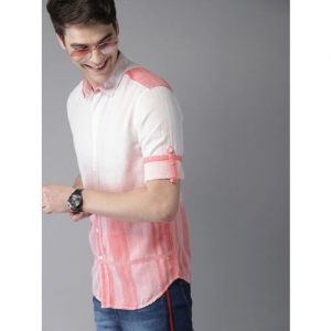 HERE&NOW Men White & Red Slim Fit Checked Casual Shirt