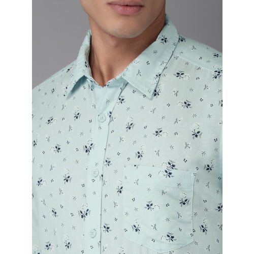 HERE&NOW Men Sea Green & Black Regular Fit Printed Casual Shirt