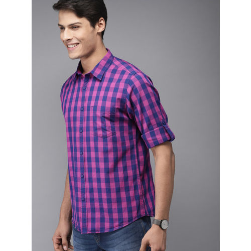HERE&NOW Men Pink & Blue Slim Fit Checked Casual Shirt