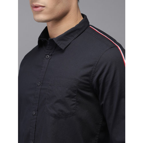 HERE&NOW Men Navy Blue Slim Fit Solid Casual Shirt