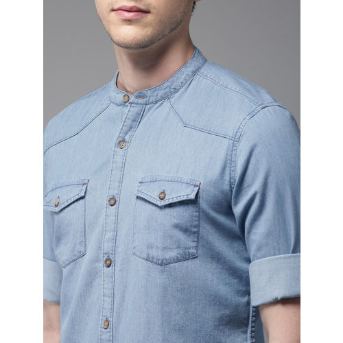 HERE&NOW Men Blue Slim Fit Solid Casual Shirt
