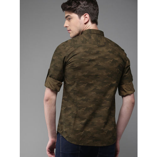 HERE&NOW Men Green Slim Fit Printed Casual Shirt