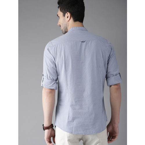 HERE&NOW Men Blue & White Regular Fit Striped Casual Shirt