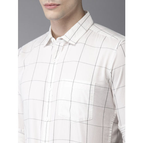 HERE&NOW Men White & Black Slim Fit Checked Casual Shirt