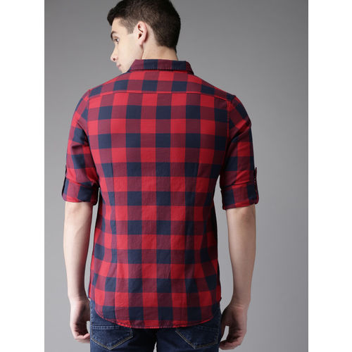 HERE&NOW Men Navy Blue & Red Slim Fit Checked Casual Shirt