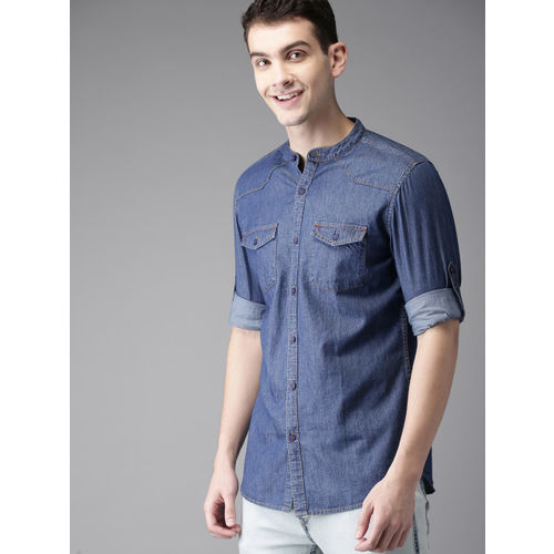 HERE&NOW Men Blue Slim Fit Solid Chambray Shirt