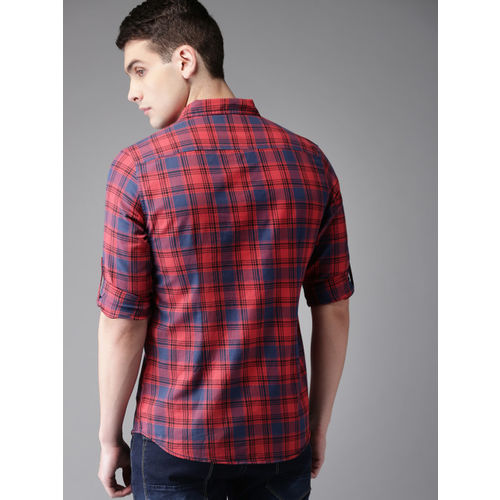 HERE&NOW Men Red & Blue Slim Fit Checked Casual Shirt