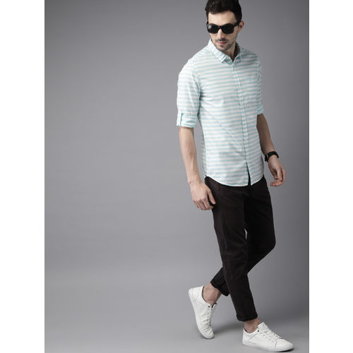 HERE&NOW Men Blue & White Slim Fit Striped Casual Shirt