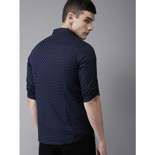 HERE&NOW Men Navy Blue & White Slim Fit Polka Dot Casual Shirt