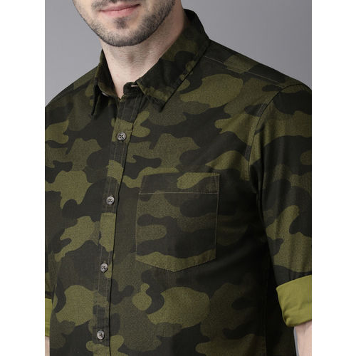 HERE&NOW Men Olive Green & Black Slim Fit Printed Casual Shirt