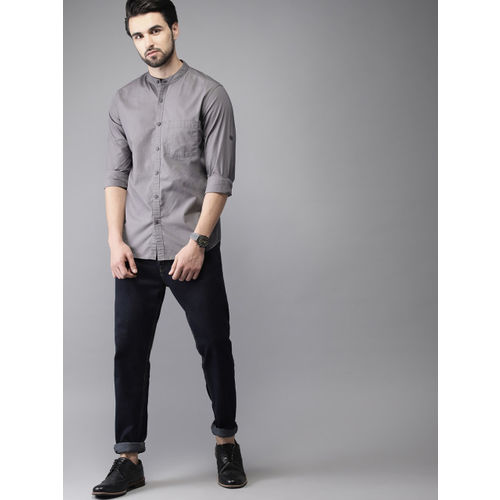 HERE&NOW Men Grey Slim Fit Solid Casual Shirt